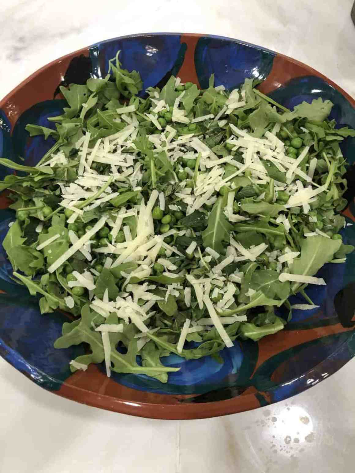 arugula, pea, mint and pecorino salad