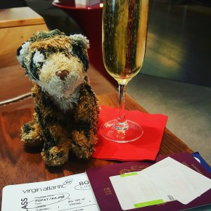 Tim Enjoying a glass of champagne before his flight.