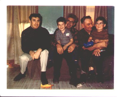 At home from the Arctic with Pop, Uncle Neil and Roddie & Mark- 1968 L-R Me, Roddie, Neil, Pop and Mark