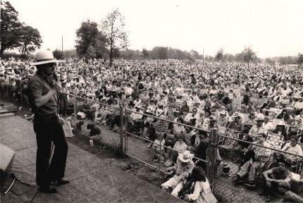 Introducing an act at an outdoor concert near Toronto. 1982