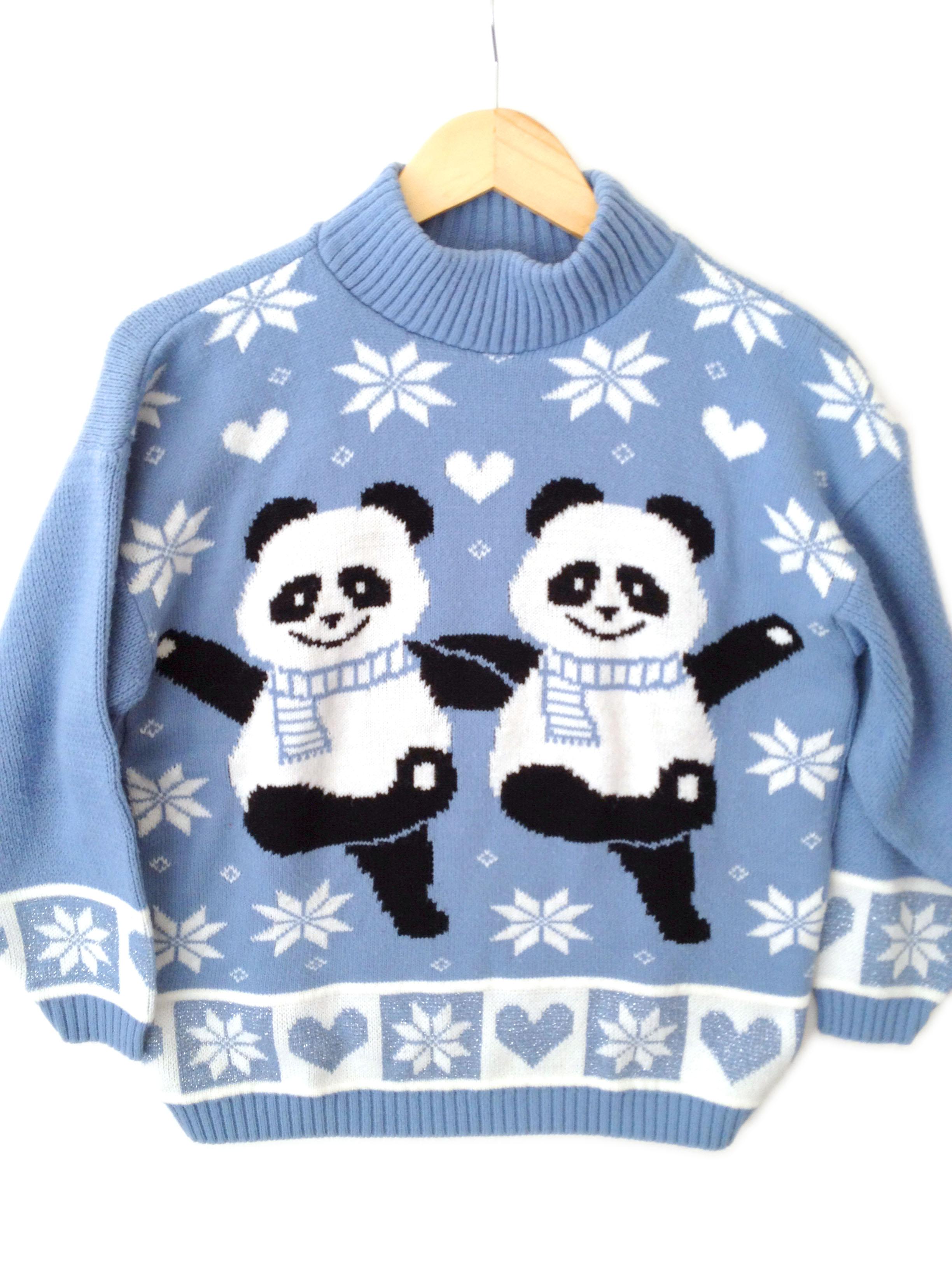 Vintage 80s Dancing Pandas Tacky Acrylic Ugly Christmas