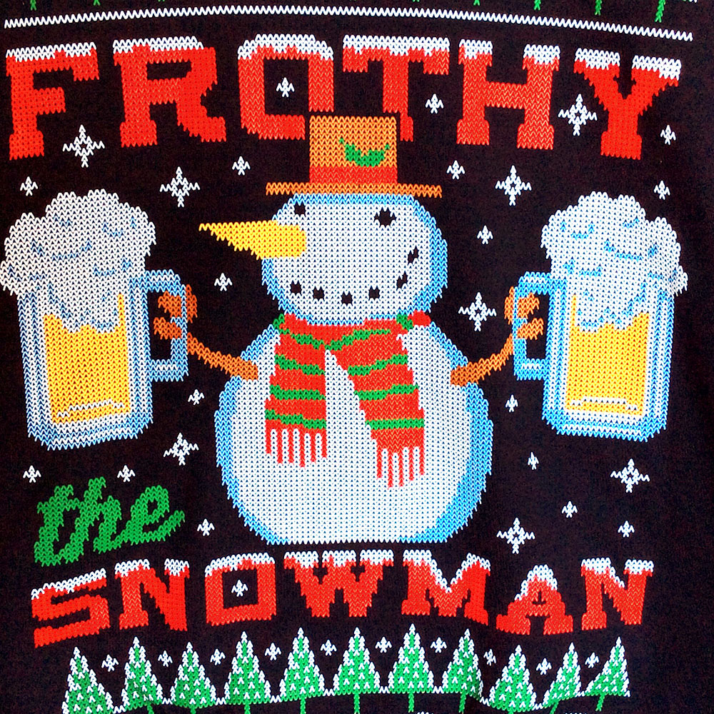 Frothy The Snowman Beer Mug Ugly Christmas Sweater Style