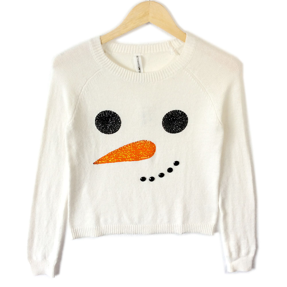 Bethany Mota Blingy Snowman Face Cropped Ugly Christmas