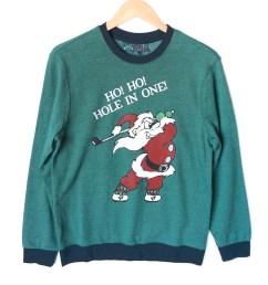 gem golf cart ho ho hole in one golfing santa tacky ugly christmas sweatshirt [ 1000 x 1000 Pixel ]