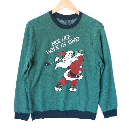 small resolution of gem golf cart ho ho hole in one golfing santa tacky ugly christmas sweatshirt