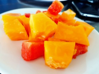 fresh papaya and watermelon fruits for dessert