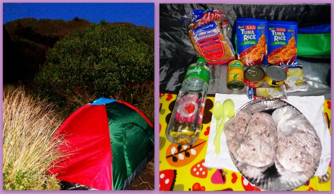Our Tent and enough food for dinner.