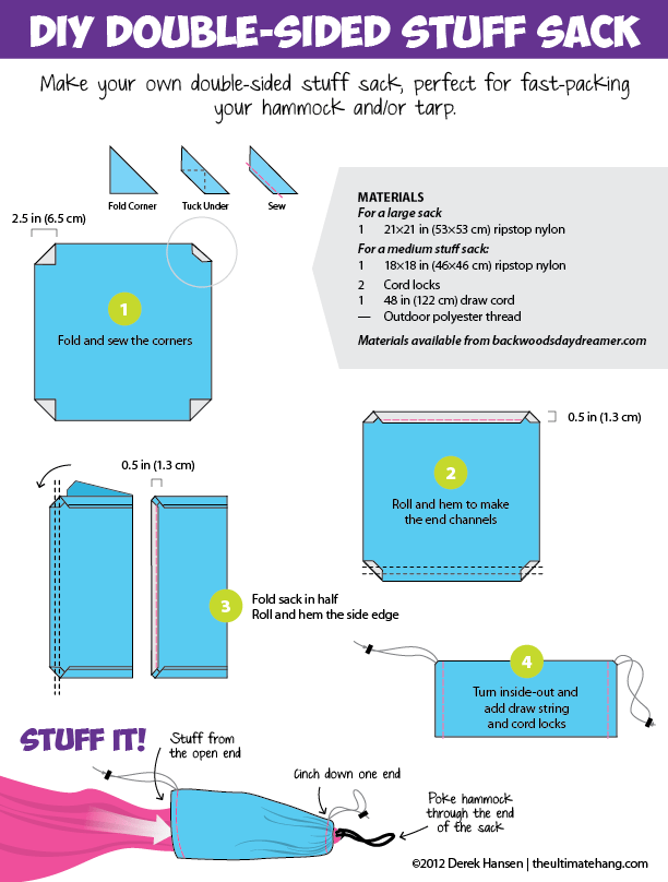 DIY double-sided stuff sack