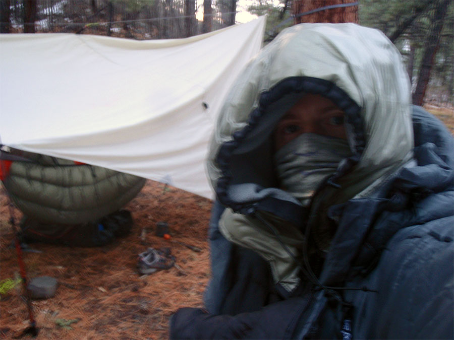 A blurry shot in the early morning. This shows my 3-layer insulated hood. SUPER hot. I used Velcro® Omni-Tape® to attach the front.