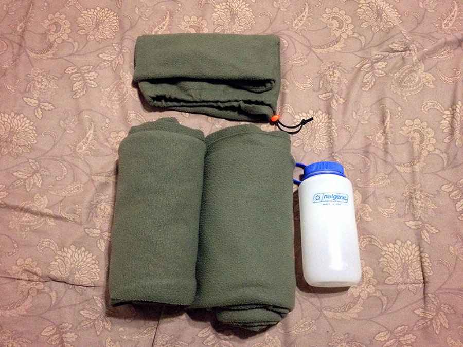 Here are the two quilts and hoods I made from a single queen-size fleece blanket. Compared with a 1L Nalgene.