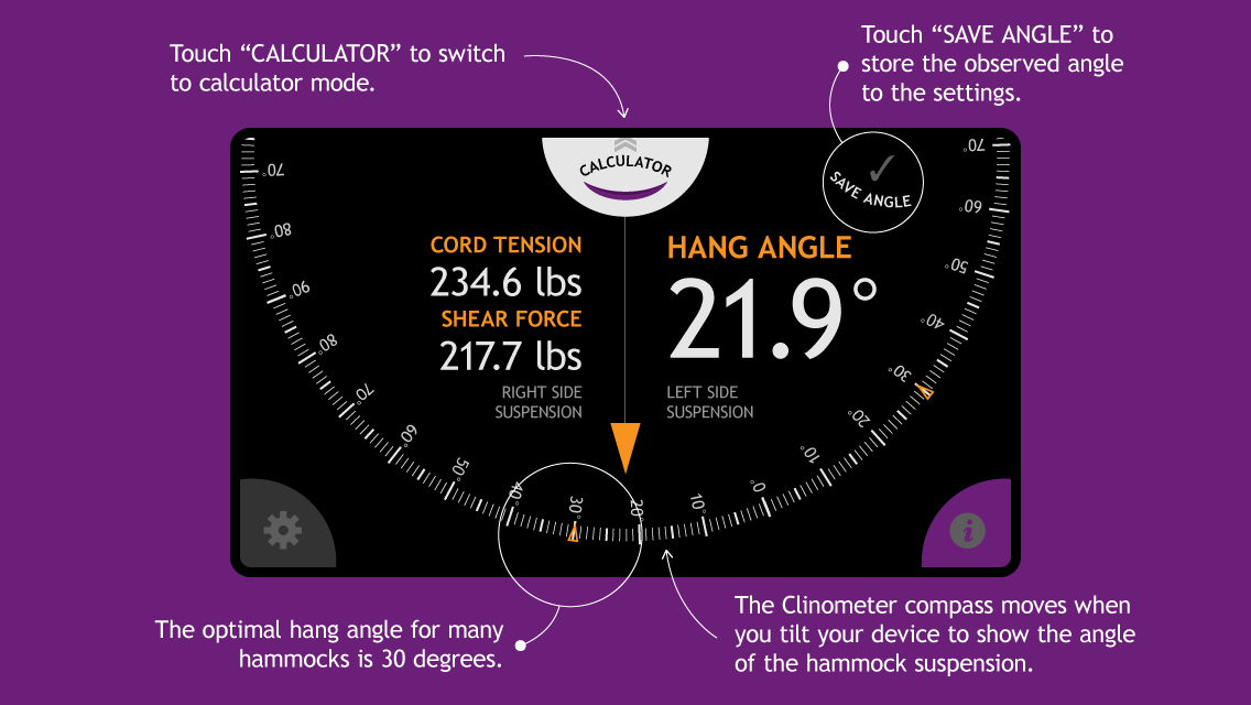 Hammock Hang Calculator Help Screen