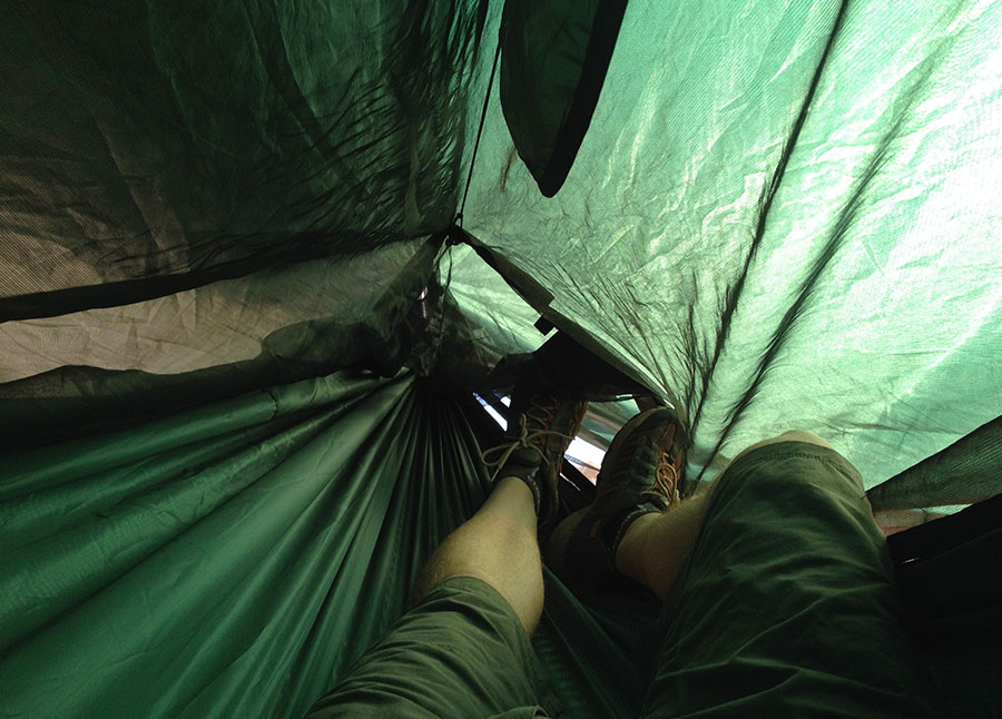 Showing the foot end when there is no tent pole installed. With the ridge line, there is still ample room.