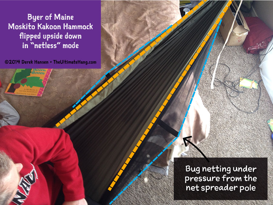 """You need to be very careful when considering """"net less"""" mode with the Kakoon because of how the net spreader poles can stress the netting."""