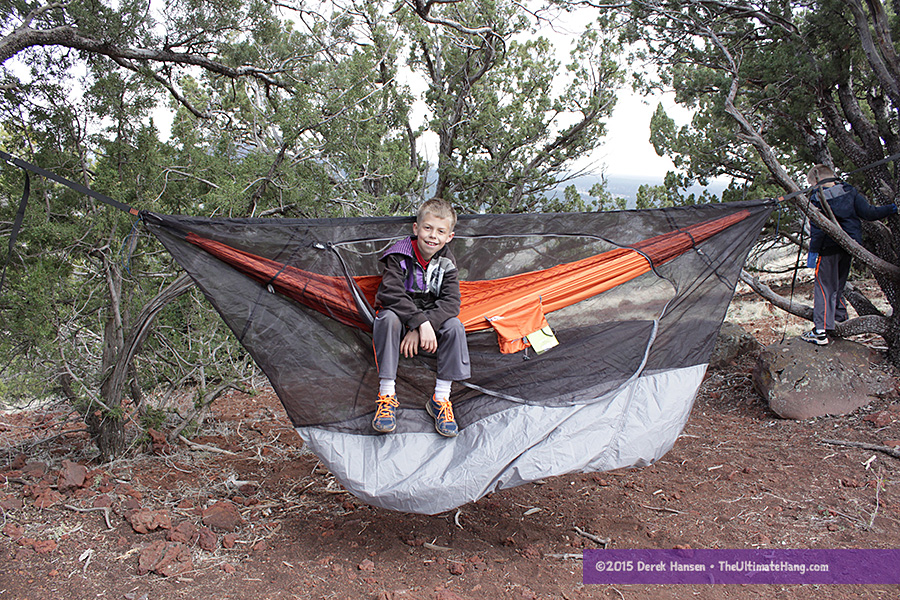 This is the hammock when connected to the bug net ridge line as designed. Note how shallow the sag is, how much extra (wasted) space below, and how little head room above.