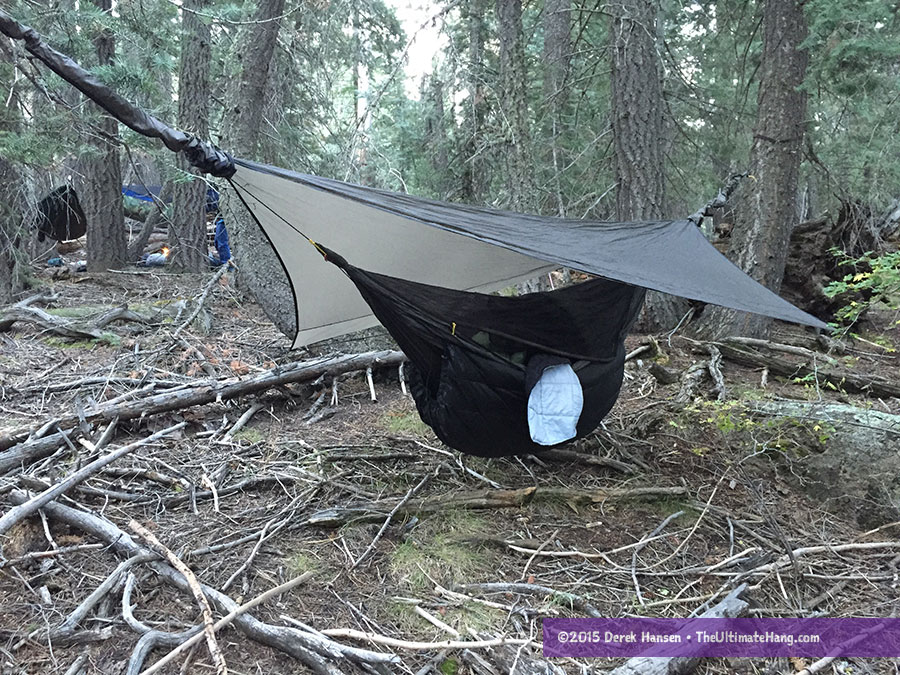 A bit of the Go-Anywhere blanket is peaking out of my hammock on a recent backpacking trip.