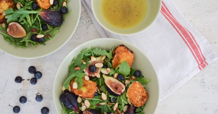 Fried Goat Cheese Salad with Figs and Blueberries