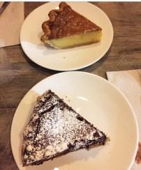 O Pie O honey vinegar pie and dark chocolate pie