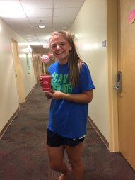 Maddie with her cup flower