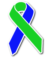 green and blue awareness ribbon