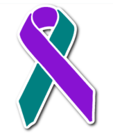 purple and teal awareness ribbon