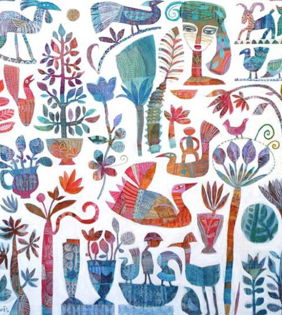 Journey with friends through gardens acrylic on canvas The Whimsical Art of Jill Lewis