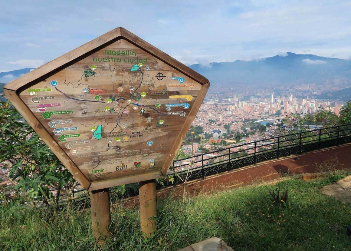 Downtown Medellin and sign at base of Pan de Azucar