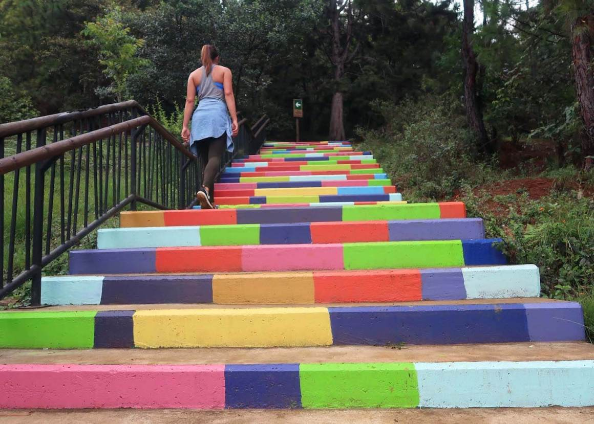 Kim walking up colorful stairs