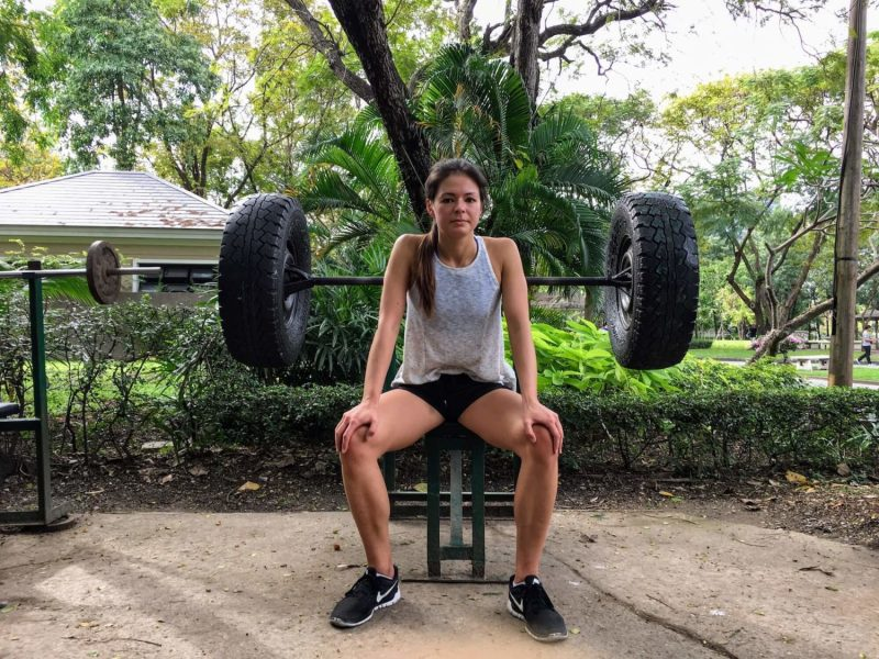Kim getting amped at Lumpini Park gym