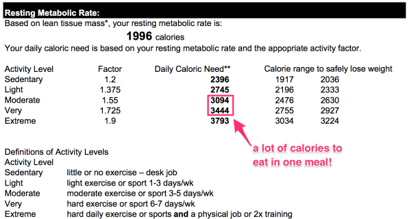 Chris DEXA scan calorie requirements