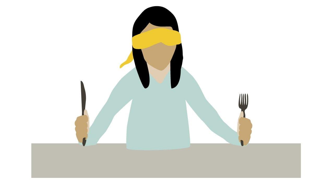 cartoon of blindfolded eater
