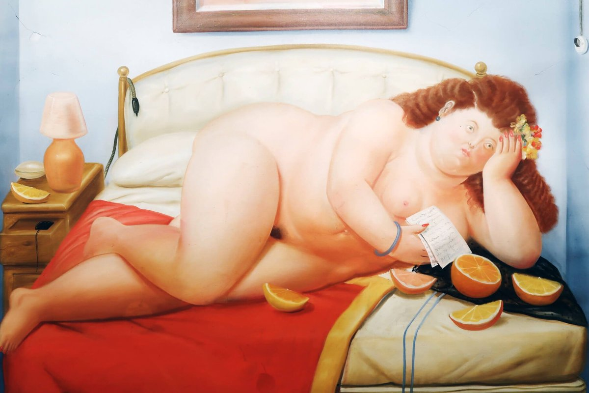 Botero Lady On Bed 24 Hours in Bogota