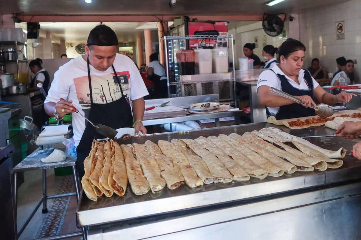 Enormous quesadillas at Machete Amparito in Mexico City