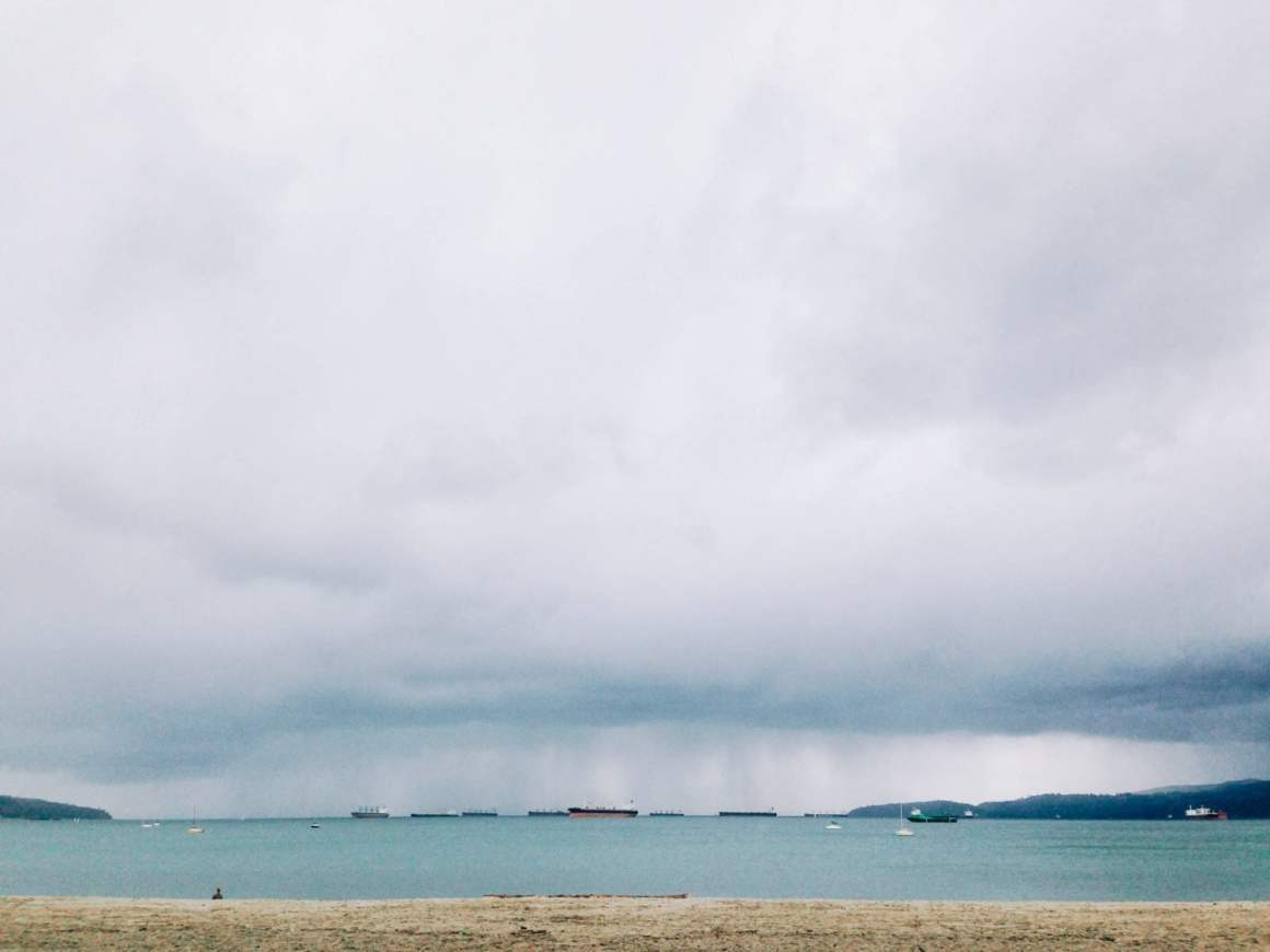 cloudy rainy vancouver view from english bay beach