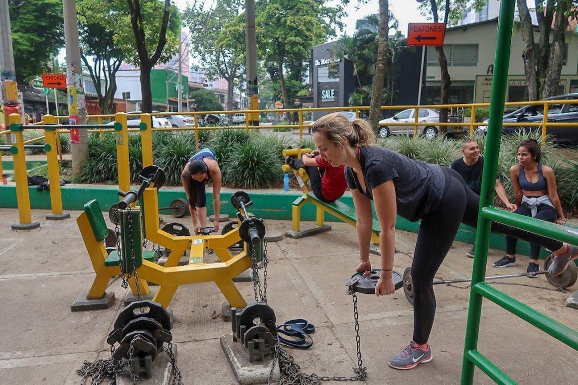People working out in El Poblado's outdoor park.