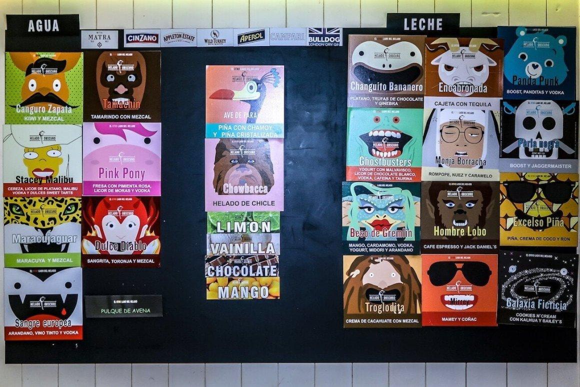 Helado Obscuro ice cream menu in Mexico City