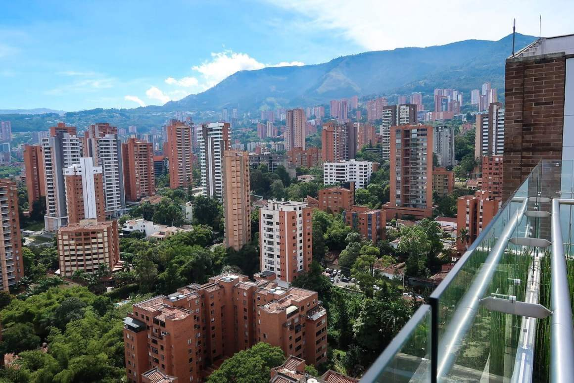 View from rooftop towards the buildings of La Florida, El Poblado, Medellin