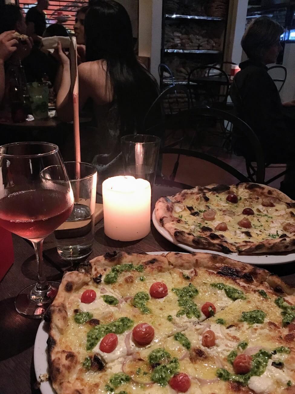 Close up of pizzas from Cafe Zorba in El Poblado, Medellin