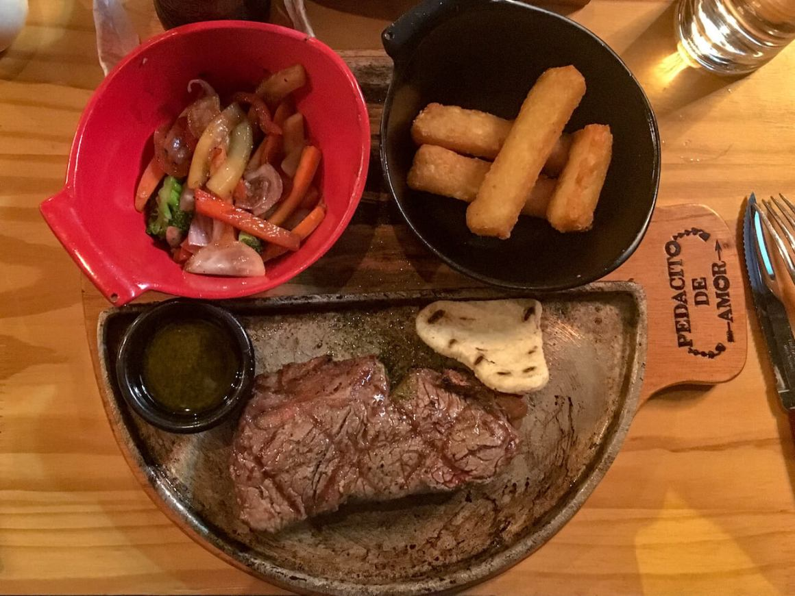 Steak and sides from Pedacito de Amor