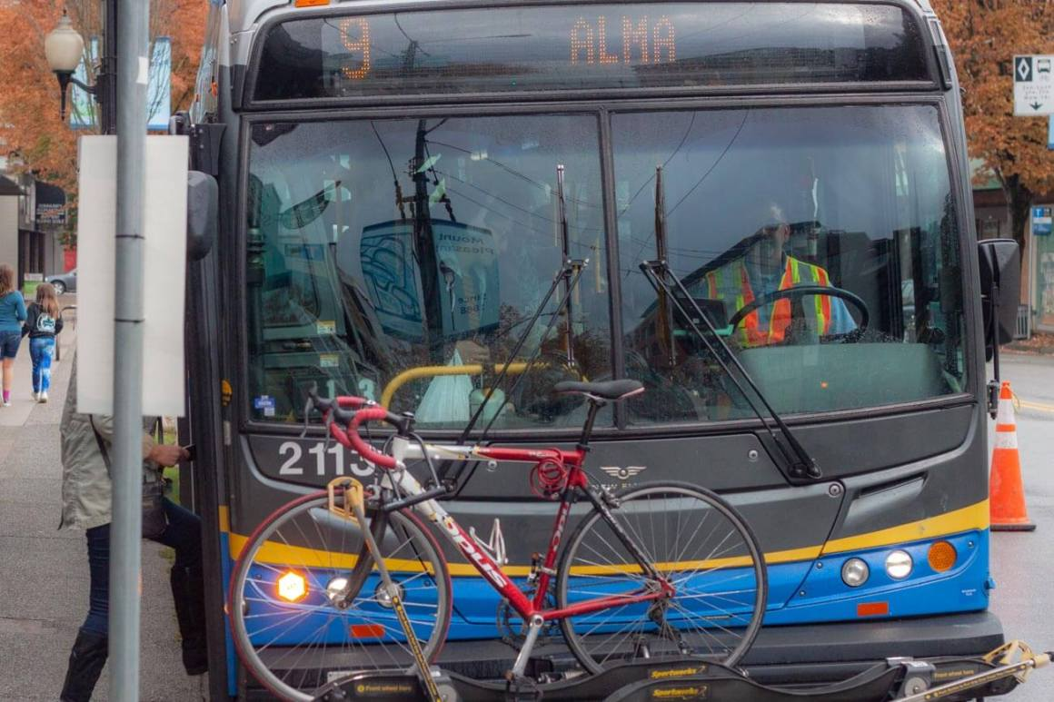 Bike on front of bus