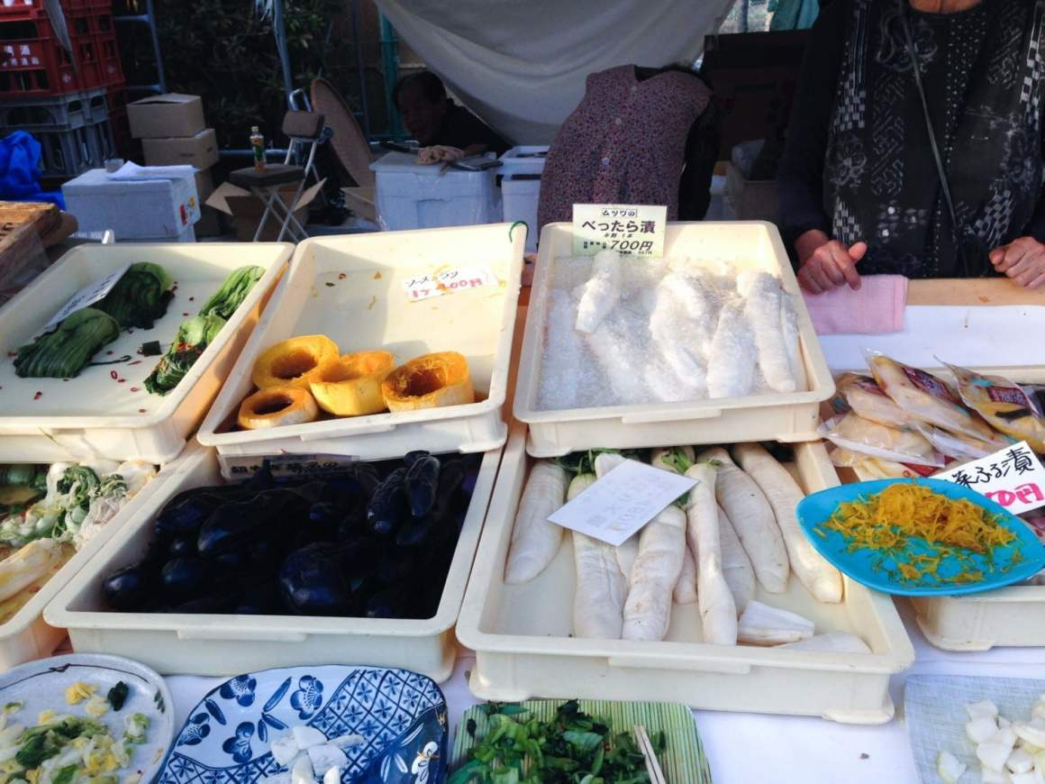 pickled vegetables food at saijo sake festival