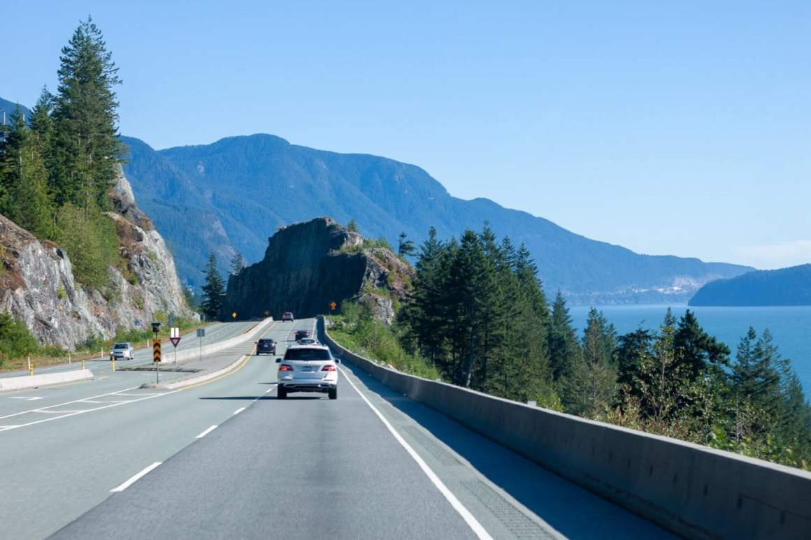 driving along sea to sky hwy back to vancouver after hiking anvil island