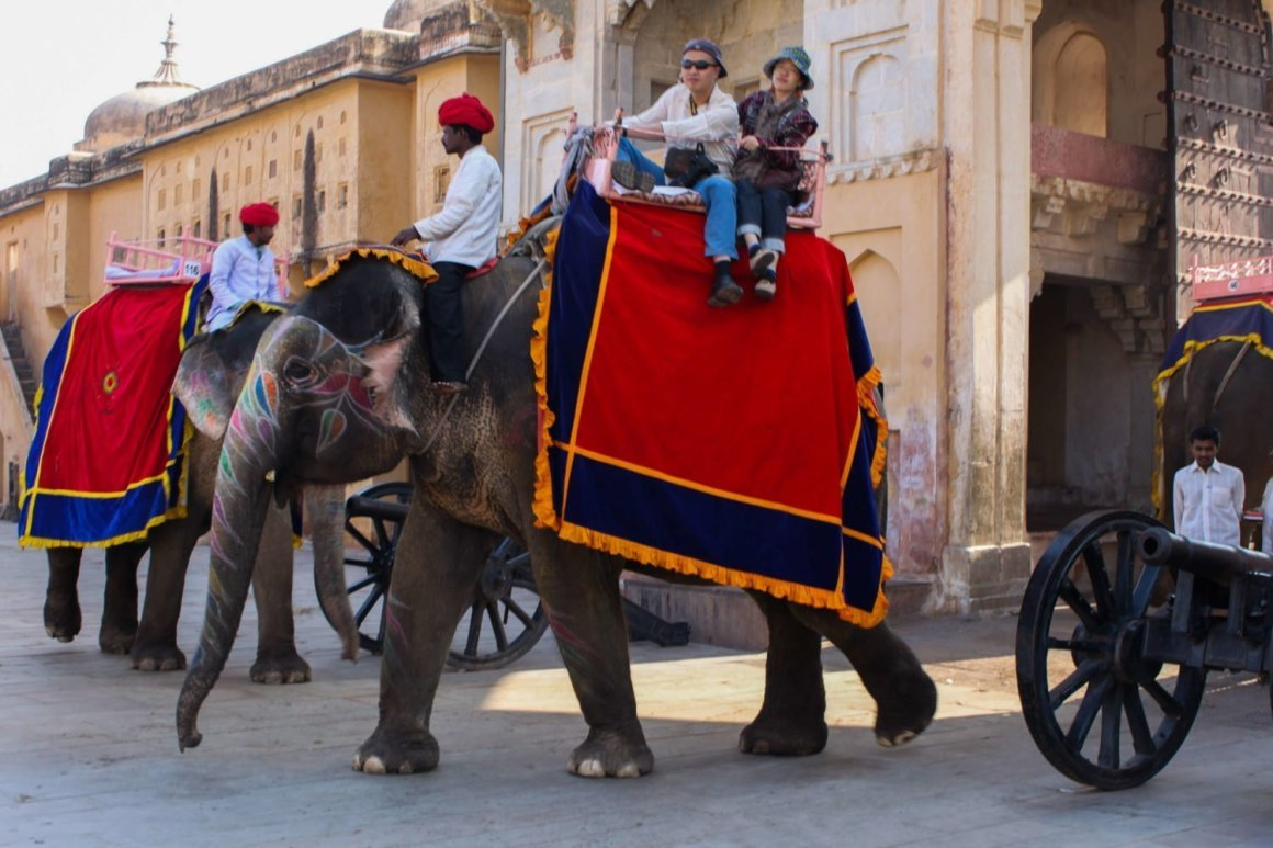 tourists riding elephants in jaipur india is definitely in the guide book and not on our blog
