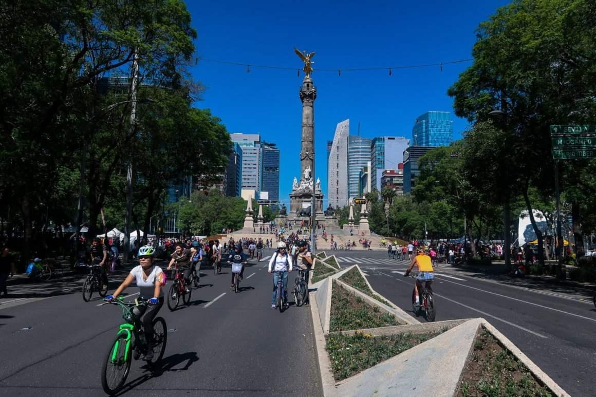 mexico city ciclovia riding down reforma street