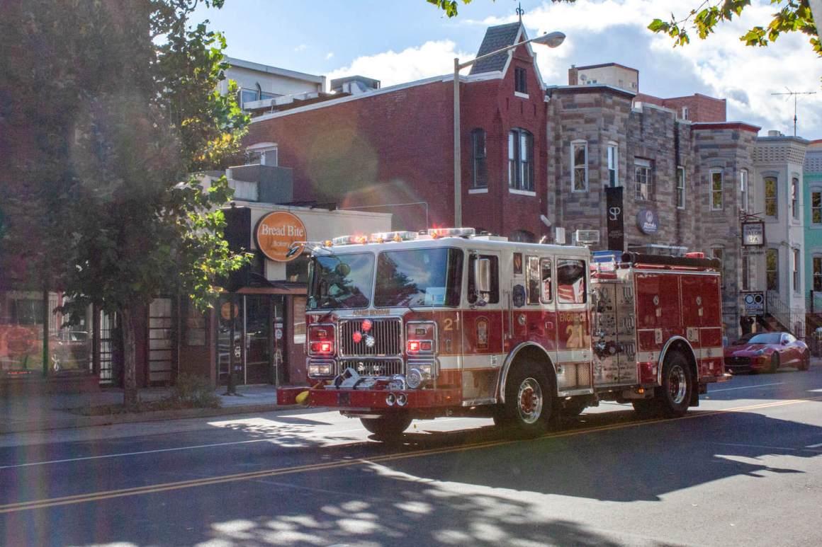 D.C. Firetruck speeding down a street