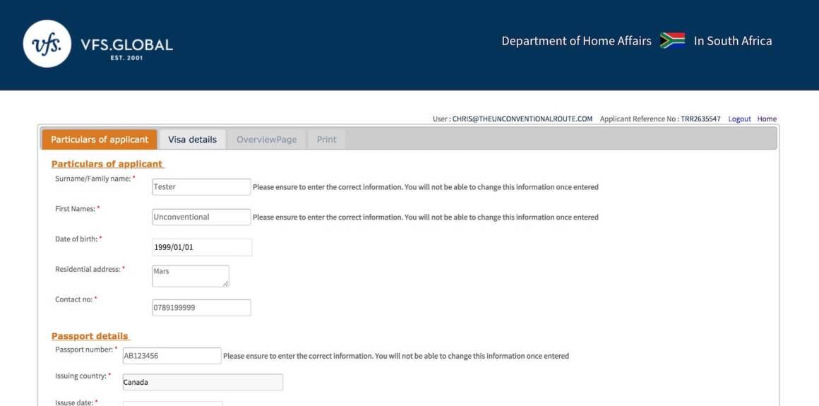 passport info screenshot