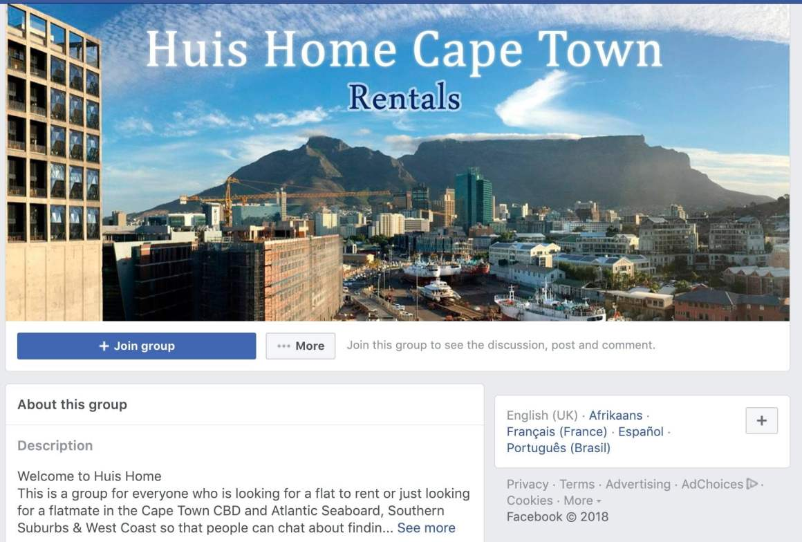 Screen shot of Huis Huis Facebook group for finding apartments in Cape Town