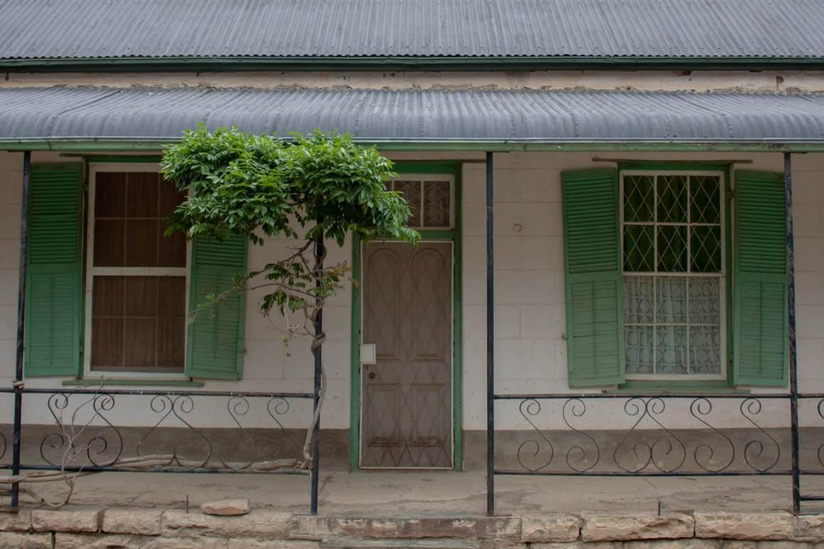 Facade with shutters in Nieu Bethesda