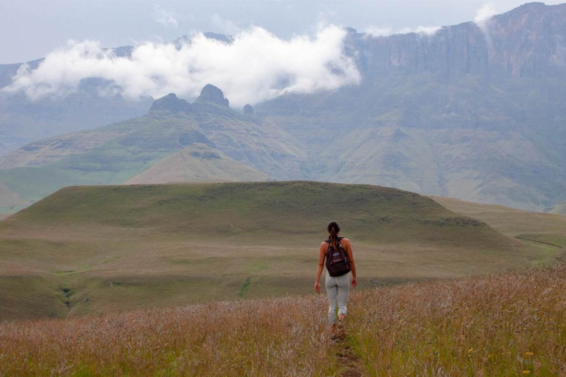 Kim hiking in Cathedral Peak