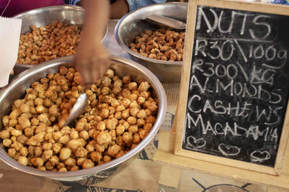 Serving out sugared macadamia nuts in Johannesburg