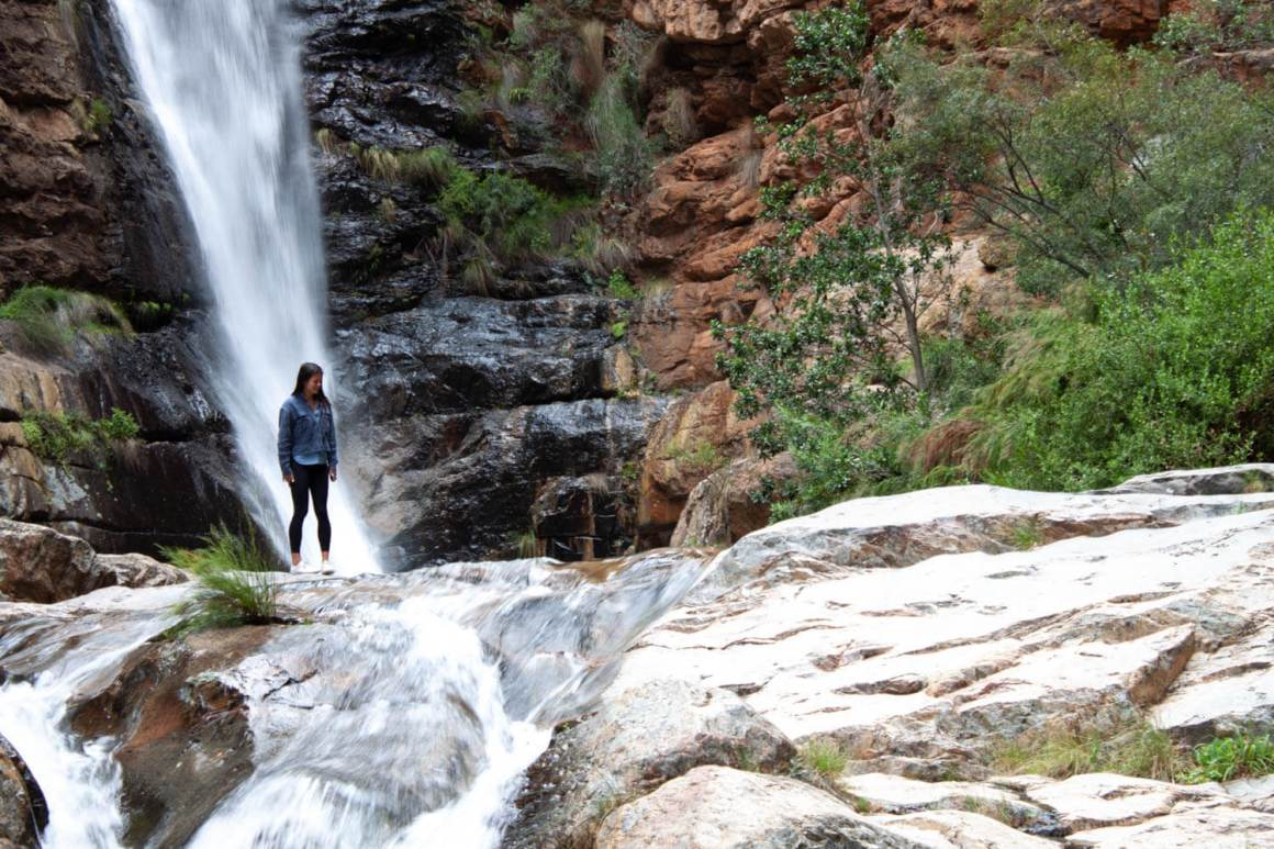 Close up of Kim in front of Meiringspoort Waterfall